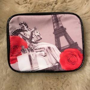 Paris Eiffel Tower red rose makeup bag